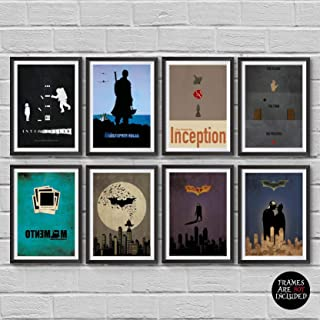Christopher Nolan Minimalist Poster Set of 8 Films Interstellar Batman Begins The Dark Knight The Dark Knight Rises Incept...