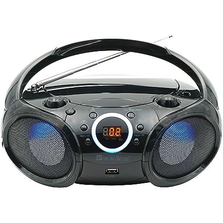SINGING WOOD 030BTL CD Player Boombox, CD/CD-R/CD-RW, Portable w/Bluetooth, USB, AM/FM Radio, Aux Line-Input, Headset Jack, Foldable Carrying Handle and LED Light (Phantom Black)