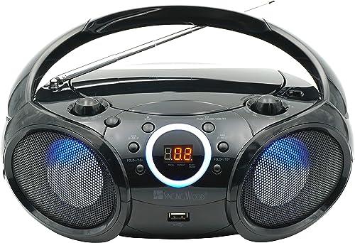 SINGING WOOD, CD Player Boombox, CD/CD-R/CD-RW, Portable w/Bluetooth, USB, AM/FM Radio, Aux Line-Input, Headset Jack,...