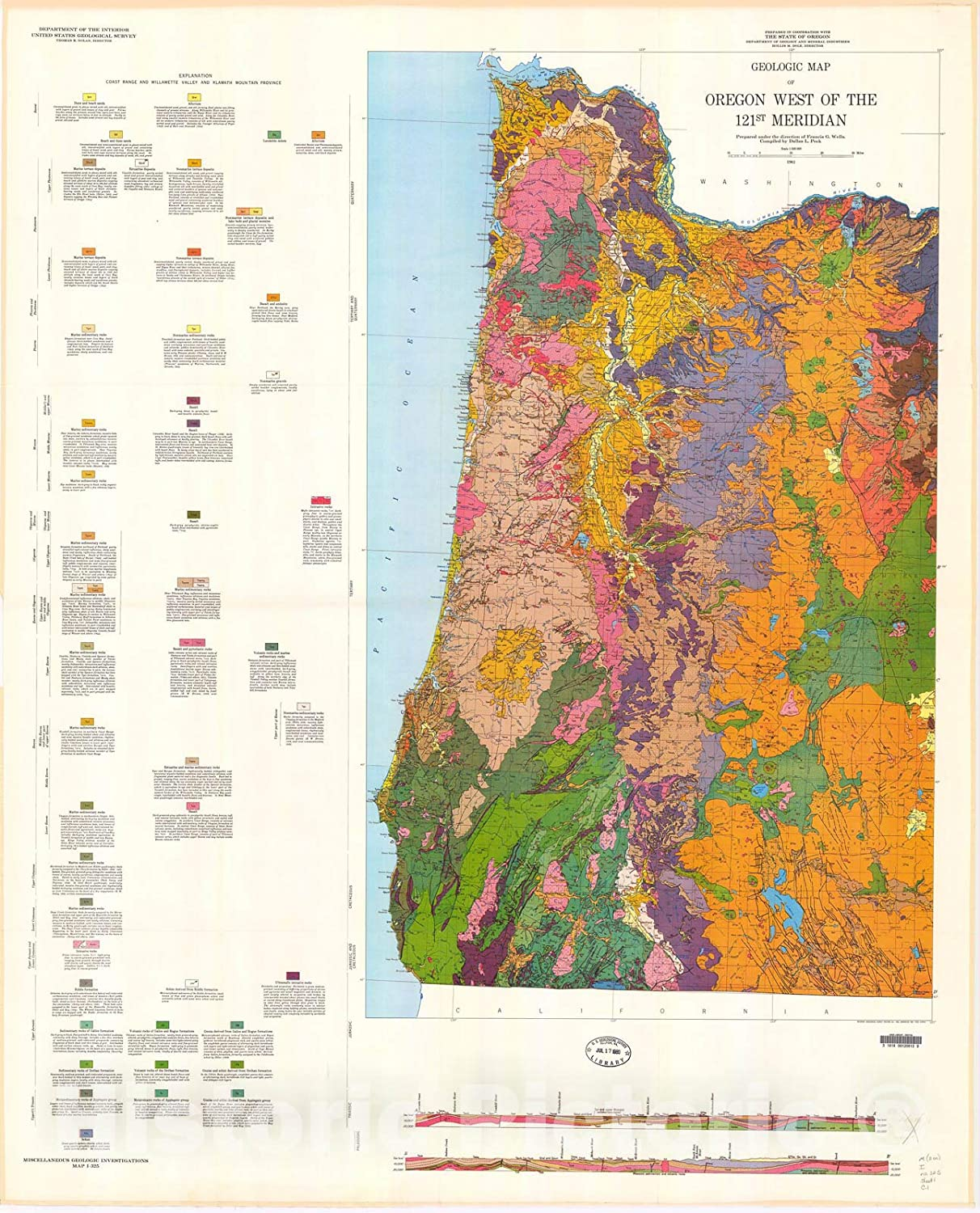 Historic Pictoric Map : Geologic map west The All items in the Max 67% OFF store 121st Oregon of