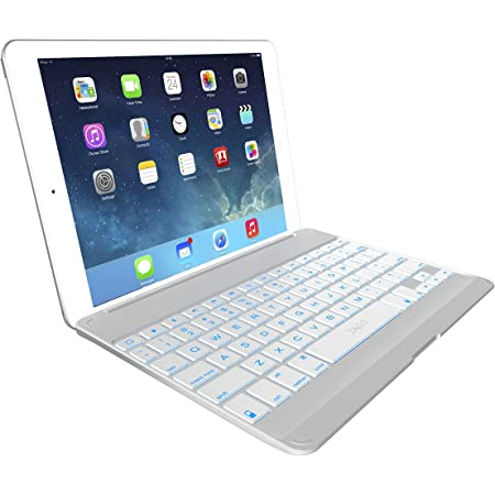ZAGG ZKFHCWHLIT105W ZAGGkeys Cover and Backlit Keyboard for Apple iPad Air, Silver
