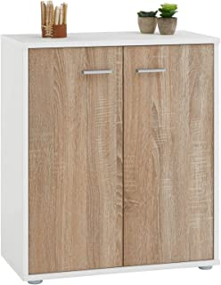 IDIMEX Buffet FIRMIN, Commode Meuble de Rangement avec 2 Portes, en mélaminé Blanc Mat et décor chêne Sonoma
