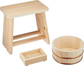 星野工業 日本製 浴用3点セットA 桧風呂イス モミ湯桶 桧石鹸台