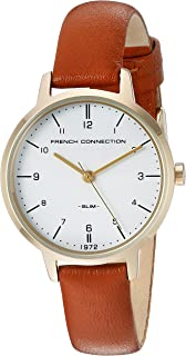 French Connection Women's Quartz Newgate White Dial Analog Display Watch for Women with Gold Case and Tan Genuine Leather Strap analog Display and Leather Strap, FC1256TG