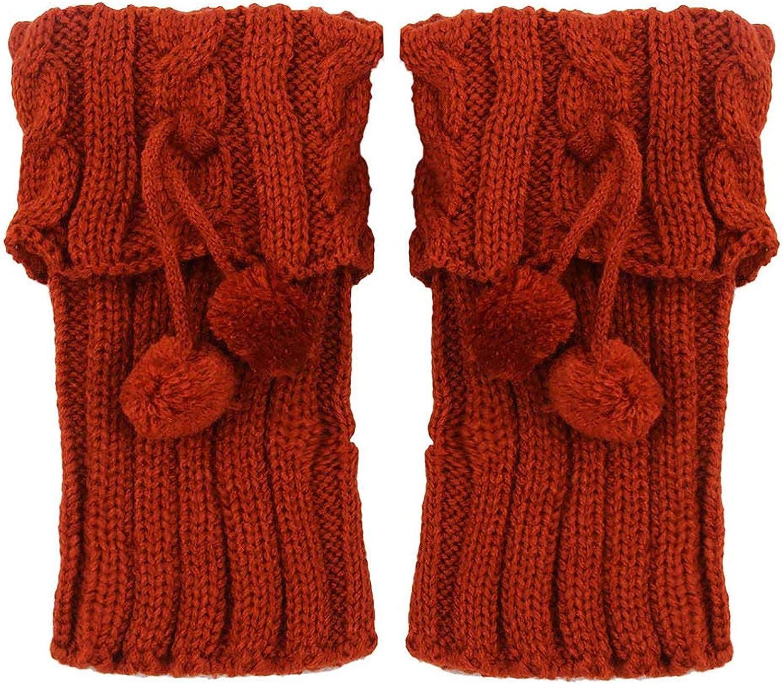 iLUGU Women's Fashion Twist-Knitted Leg Warmers Socks Winter Short Flap Boot Cover