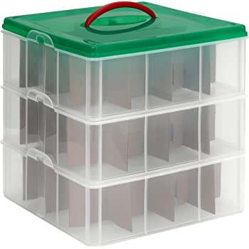 See-through layers Clear Lid /& Blue Handle 2 Layer Box Sterilite 1427CLR Stack /& Carry