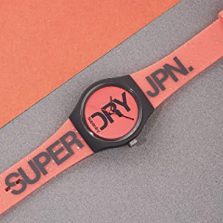 Superdry Urban Brand Glitter Analogue Matte Neon Coral Dial Coral Silicon Watch For Women - SYL189CE
