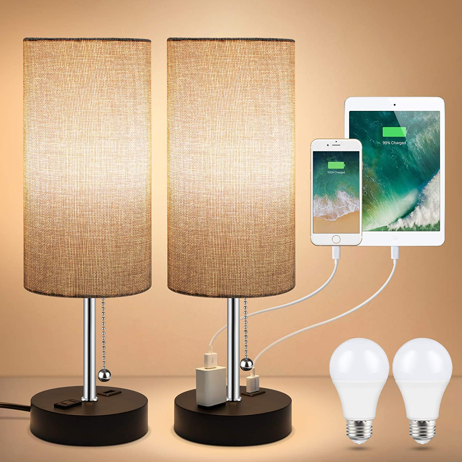 Unicozin 2 Max 76% OFF Pack Bedside Table Lamp Built USB Desk in Seattle Mall Charg