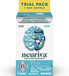 Brain Support Supplement - NEURIVA Plus (7 count in a bottle), Plus B6, B12 & Folic Acid, Supports 6 Indicators Of Brain Performance: Focus, Memory, Learning, Accuracy, Concentration & Reasoning