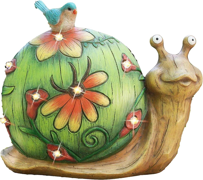 YonCog Garden Art Figurines Solar Max 65% OFF Figurine S Ranking TOP8 Snail Statue