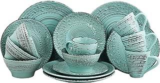 Elama ELM AD Malibu Waves 16-Piece Dinnerware Set in Turquoise, 16pc