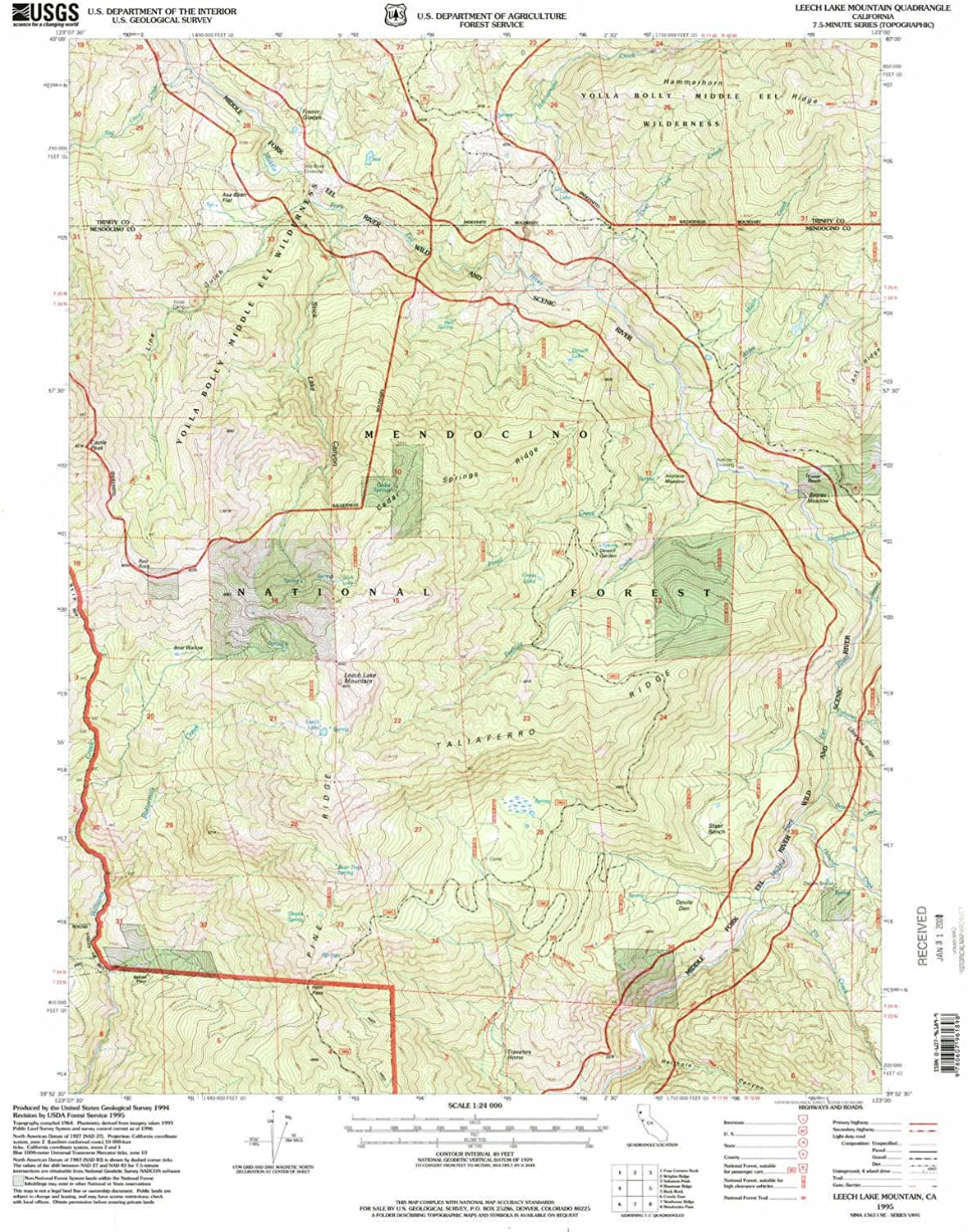 Leech Lake Mountain CA topo map, 1 24000 Scale, 7.5 X 7.5 Minute, Historical, 1995, Updated 2001, 26.6 x 21.9 in