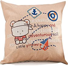 Chezmax Cotton Linen Blend Cushion Square Decorative Throw Pillow Cartoon Series Cover/Shell Little Pirate