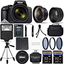 Nikon COOLPIX P900 Digital Camera with 83x Optical Zoom and Built-in Wi-Fi (Black) + 64GB Ultimate Starter Bundle. Includes 2X Memory Cards + 3 Piece Filter Kit + Tripod + More (Renewed)