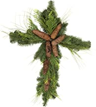 Napco Imports, Inc. Douglas Fir with Pinecone Natural Green 30 x 20 Artificial Christmas Wall Cross