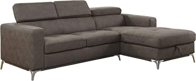 "Lexicon 92"" x 66"" Sectional Sofa with Storage, Brown"