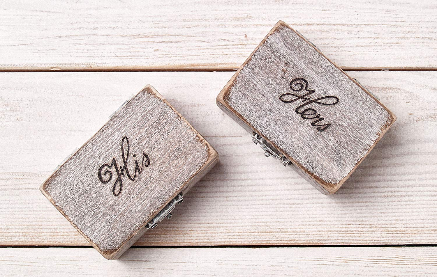 Mr and Safety trust Mrs Ring Max 41% OFF Box Pillow Hol Wedding Set Engraved Rustic