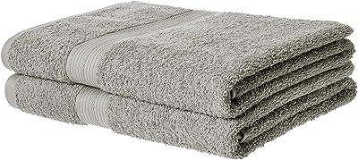 ELSTONE HOME Fade-Resistant Cotton Bath Towel - Pack of 2, Grey