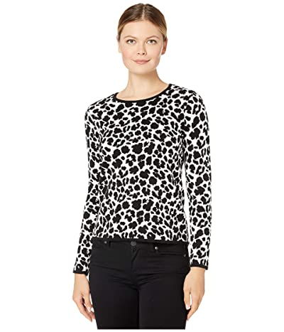 Vince Camuto Long Sleeve Animal Jacquard Pullover Sweater (Antique White) Women