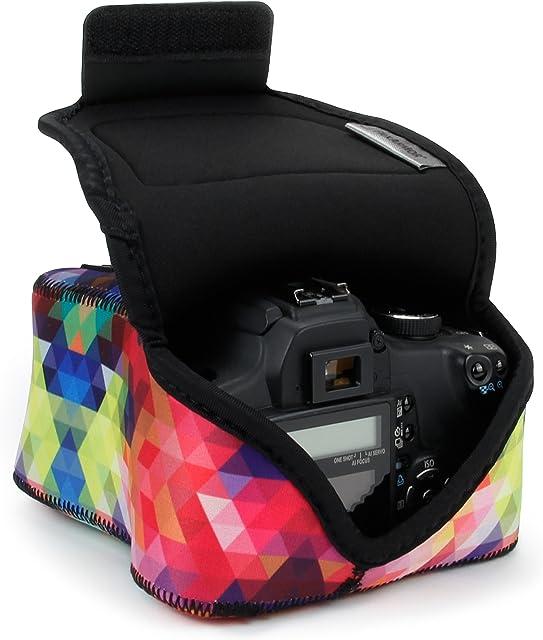 USA Gear Funda para Cámara DSLR con Protección de Neopreno Presilla para Cinturón y Almacenamiento de Accesorios - Compatible con Nikon D3400 Canon EOS Rebel SL2 Pentax K-70 y más - Geométrico