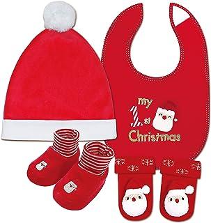 مجموعة من 4 قطع من أزياء عيد الميلاد للأطفال الأولاد (قبعة، مريلة، جوارب خشخيشة)، مجموعة هدايا جميلة للأطفال من عمر الولاد...