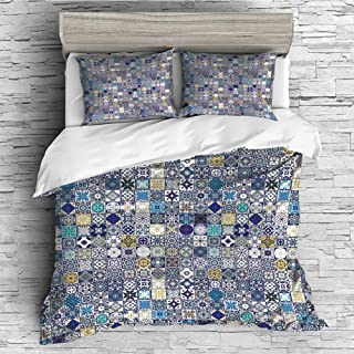 4 Pcs duvet Cover set Cotton for Bedding Set With Hidden Zipper Closure(queen size)Moroccan,Mediterranean Square Tile Motifs Pattern Vintage Traditional Artistic Collection Decorative,Multicolor