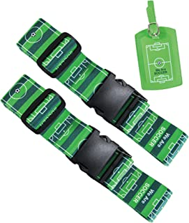 Music Office Luggage Strap Suitcase Straps Travel Belts Accessories + Name Tag (2 Soccer straps + Soccer Name tag)