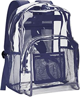 Vorspack Clear Backpack Heavy Duty PVC Transparent School Backpack with Reinforced Strap Stitches & Large Capacity for College Workplace Security - Navy