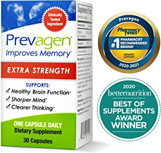 Prevagen Improves Memory - Extra Strength 20mg, 30 Capsules with Apoaequorin & Vitamin D | Brain Supplement for Better Bra...