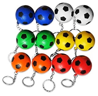 Novel Merk 12-Piece Multi-Color Soccer Sports Ball Keychains Pack Includes Red, White, Yellow, Orange, Green, Blue for Kids Party Favors & School Carnival Prizes