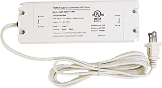 LEDupdates 12v UL Listed 60w Triac Dimmable Driver Transformer Constant Voltage Class 2 100v - 277v input Power Supply for LED Strip light Control by AC Wall Dimmer (12v 60w)