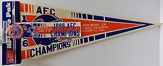Vintage Denver Broncos NFL Pro Pak: 1986 Superbowl XXI Champions Pennant,1986 Superbowl Bumper Sticker & 1986 Super Bowl Champions Pin - Great Gift for the Ultimate Denver Broncos Fan (Free Shipping & Tracking)