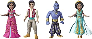 Set of 4 Disney Collectible Figures Inspired by Disney's Aladdin Live-Action Movie - Princess Jasmine in Pink Dress, Aladdin, Genie and Princess Jasmine in Teal Dress, Toy for Kids Ages 3 & Up, 3.5