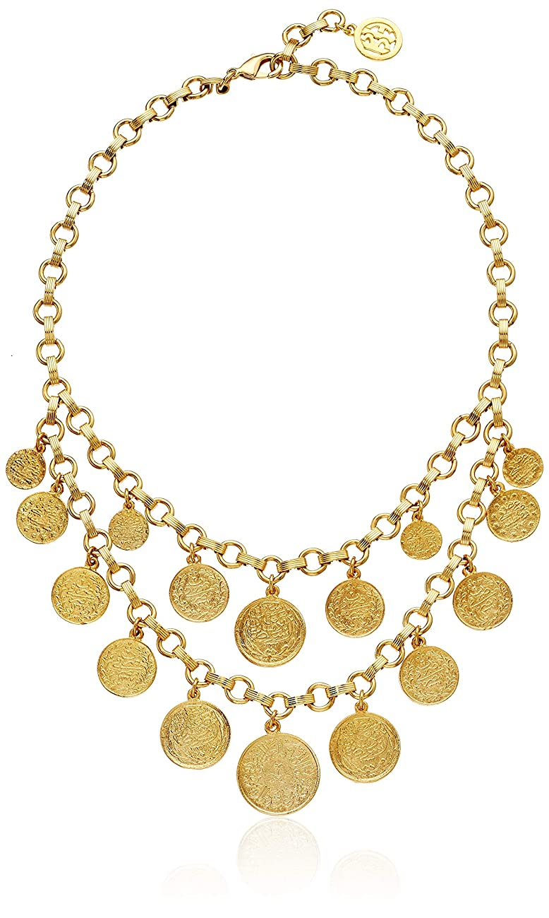 Ben-Amun Jewelry Moroccan Coin 24K Gold Plated Vintage Charm Layer Bohemian Style Strand Necklace, One Size