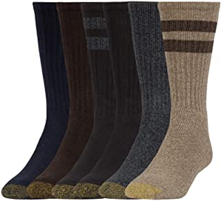 Gold Toe mens Harrington Crew Socks, 6 Pairs Casual Sock - multi