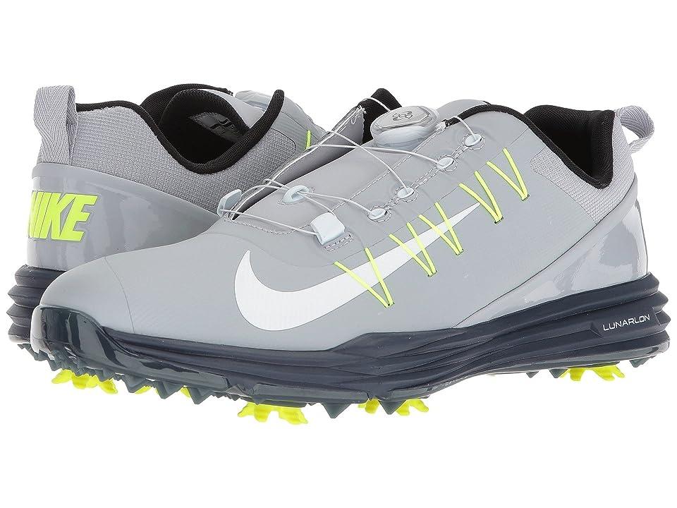 Nike Golf Lunar Command 2 BOA (Wolf Grey/White/Thunder Blue/Volt) Men's Golf Shoes