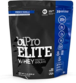 BiPro Elite 100% Whey Isolate Protein Powder, French Vanilla, 2 Pounds - NSF Certified for Sport, Sugar Free, Suitable for...