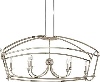 Minka Lavery Island Chandelier Mini Pendant Lighting 4776-613 Jupiter's Canopy Dining Room Fixture, 6-Light 360 Watts, Polished Nickel
