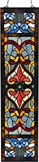 River of Goods Victorian Fleur De Lis 36 Inch High Stained Glass Window Panel, Red, Blue, Amber
