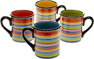 Certified International Tequila Sunrise Mug, 15-Ounce, Assorted Designs, Set of 4