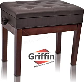 Adjustable Piano Brown Leather Bench by Griffin | Vintage Stylish Design, Heavy-Duty & Ergonomic Keyboard Stool | Comfortable Seat & Convenient Hidden Storage Space Perfect For Home & Professional Use