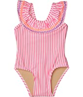 Off-the-Shoulder Neon Seersucker One-Piece (Infant/Toddler)