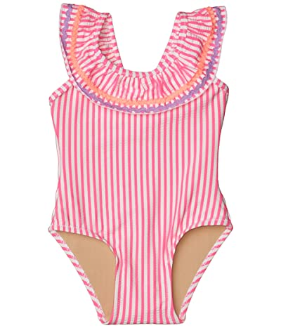 shade critters Off-the-Shoulder Neon Seersucker One-Piece (Infant/Toddler) (Fuchsia) Girl