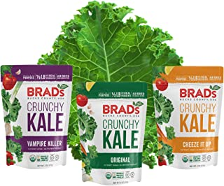 Sponsored Ad - Brad's Plant Based Organic Crunchy Kale Variety Pack, Vampire Killer/Original Probiotic/Cheez It Up, 3Bags,...
