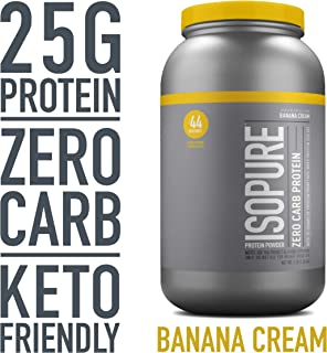 Isopure Zero Carb, Keto Friendly Protein Powder, 100% Whey Protein Isolate, Flavor: Banana Cream, 3 Pounds