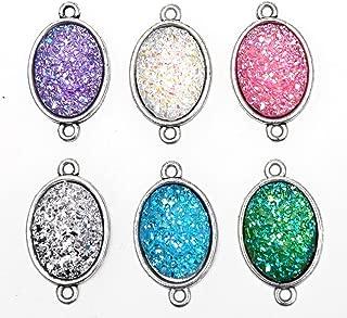 Monrocco 12PCS Oval Resin Stone Charm Faux Druzy Quartz Jewelry Connector Fit for Necklaces Bracelets Earring
