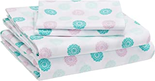 AmazonBasics Kid's Sheet Set - Soft, Easy-Wash Lightweight Microfiber - Queen, Jade Medallion
