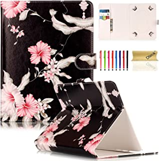 Universal 7.5-8.5 inch Tablet Case, Dteck Universal Kickstand Flip Wallet Case with Cards/Money Slots Magnetic Buckle Cover for All 7.5-8.5 inch iPad Mini, Galaxy Tab, Android IOS Tablet - Pink Floral