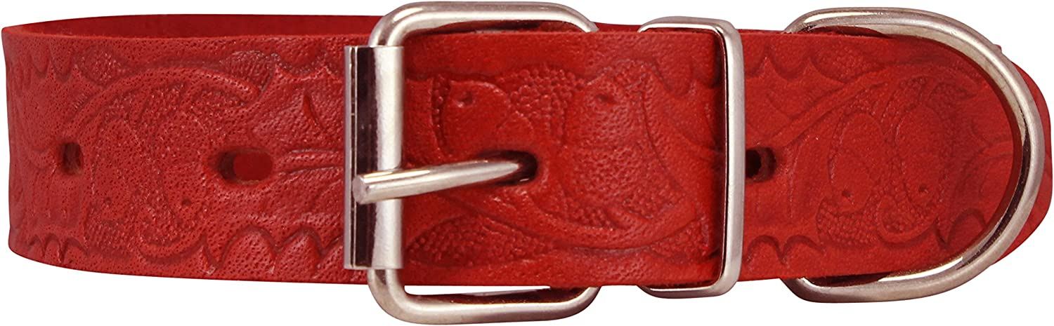 Genuine Tooled Leather Dog Collar Floral Pattern Red 3 Sizes (Neck Circumf  13 17 ; 1.2  Wide)