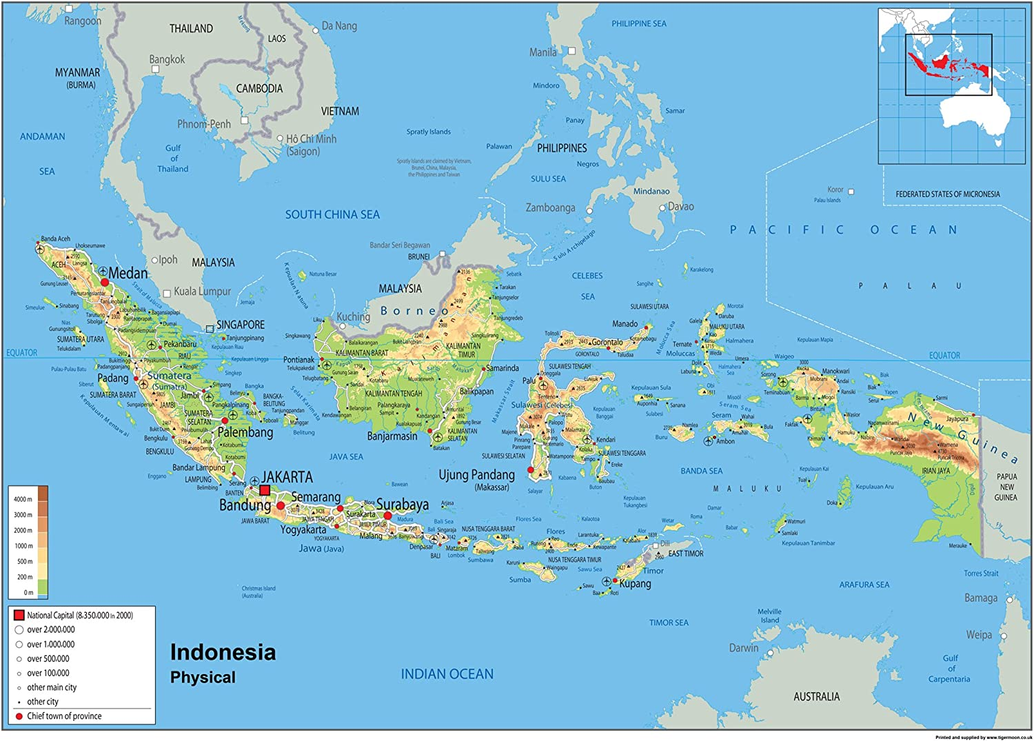 Cartina Bali Indonesia.Indonesia Physical Map Paper Laminated A2 Size 42 X 59 4 Cm Amazon Co Uk Office Products